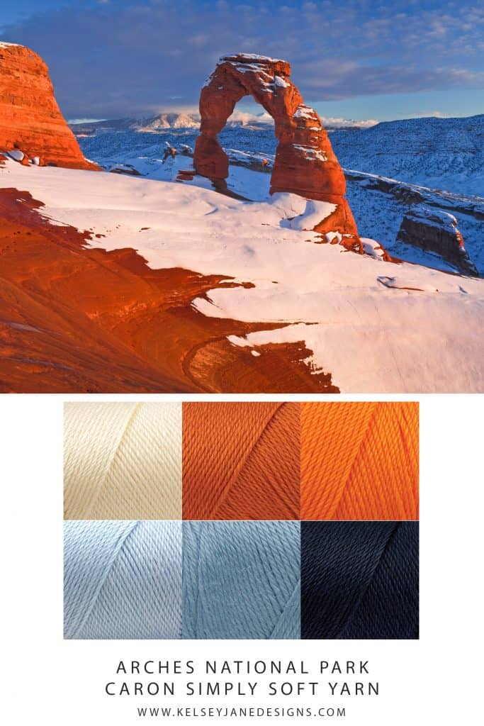 Delicate layers of snow against intense orange rock formations provides wonderful inspiration for your next knit or crochet project. Featuring Caron Simply Soft Yarn. www.kelseyjanedesigns.com