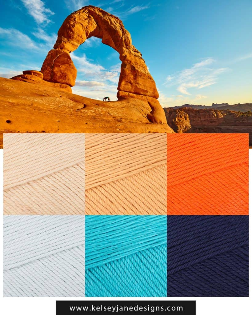 Gorgeous yarn colors inspired by the big skies and gorgeous rock formations of Arches National Park. Featuring Paintbox Yarns. www.kelseyjanedesigns.com