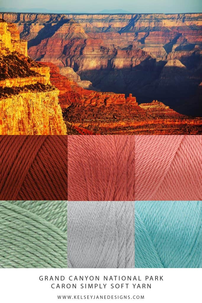 Feeling inspired by the Grand Canyon? Check out this yarn color palette for your next knit or crochet project. Featuring Caron Simply Soft. www.kelseyjanedesigns.com