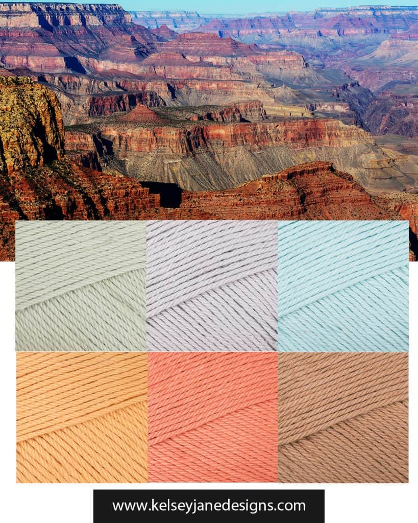 Feeling inspired by the Grand Canyon? Check out this color palette featuring Paintbox Cotton yarn for your next knit or crochet project. www.kelseyjanedesigns.com