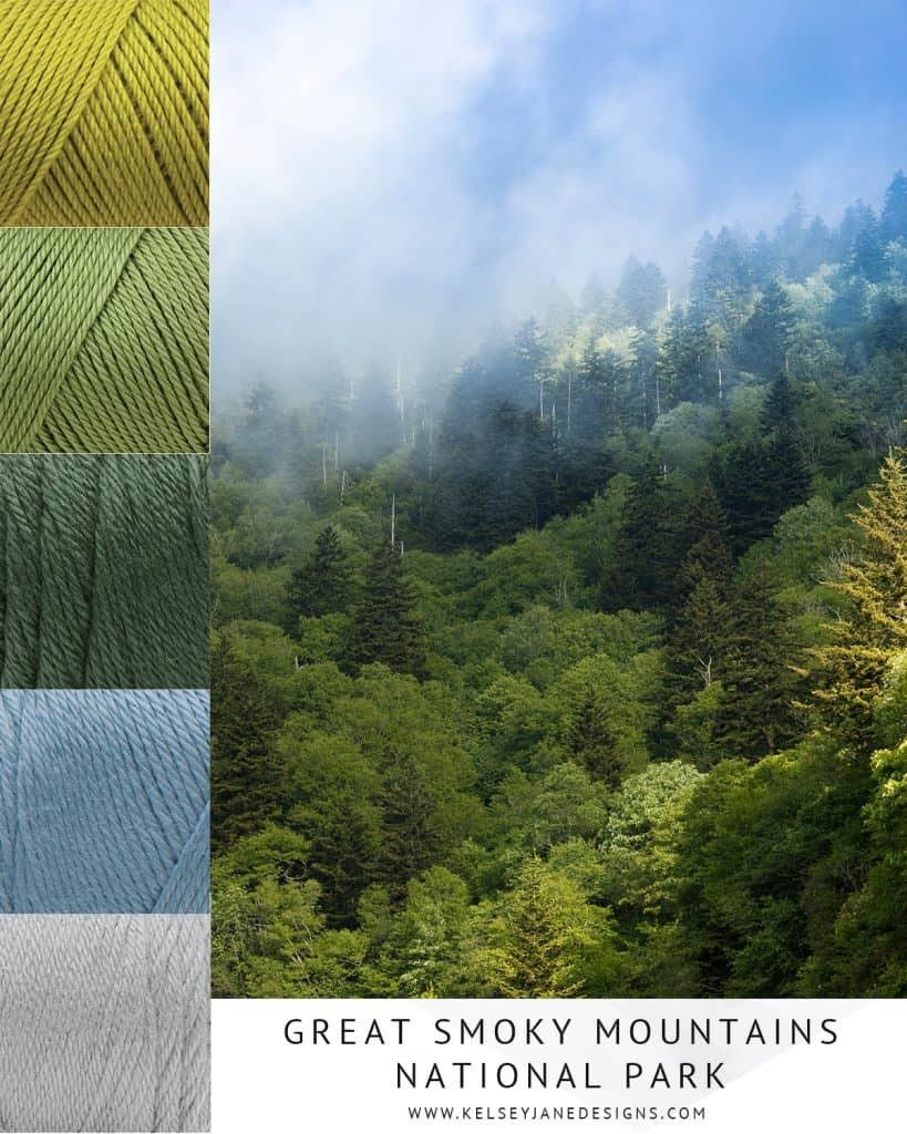 The inspiring colors of the Great Smoky Mountain National Park. Featuring Caron Simply Soft Yarn. www.kelseyjanedesigns.com