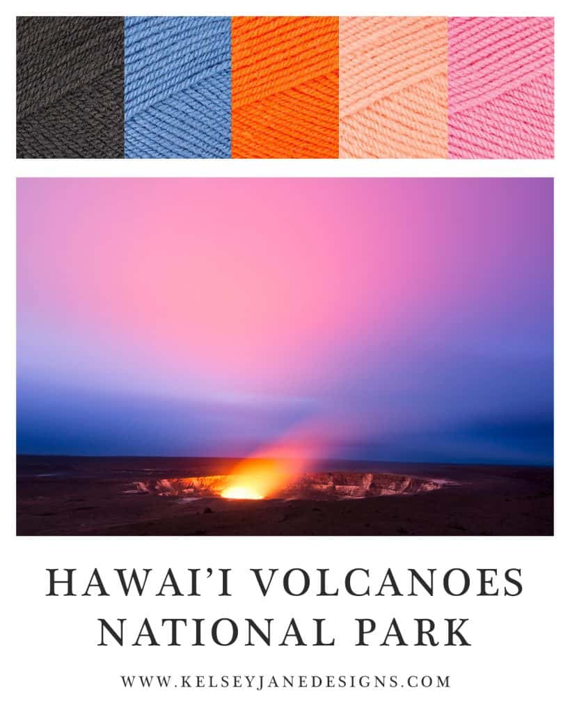 Inspire your next knit or crochet project with the colors of Kilauea in Hawai'i Volcanoes National Park. Yarn: Paintbox Yarnss Simply DK. www.kelseyjanedesigns.com