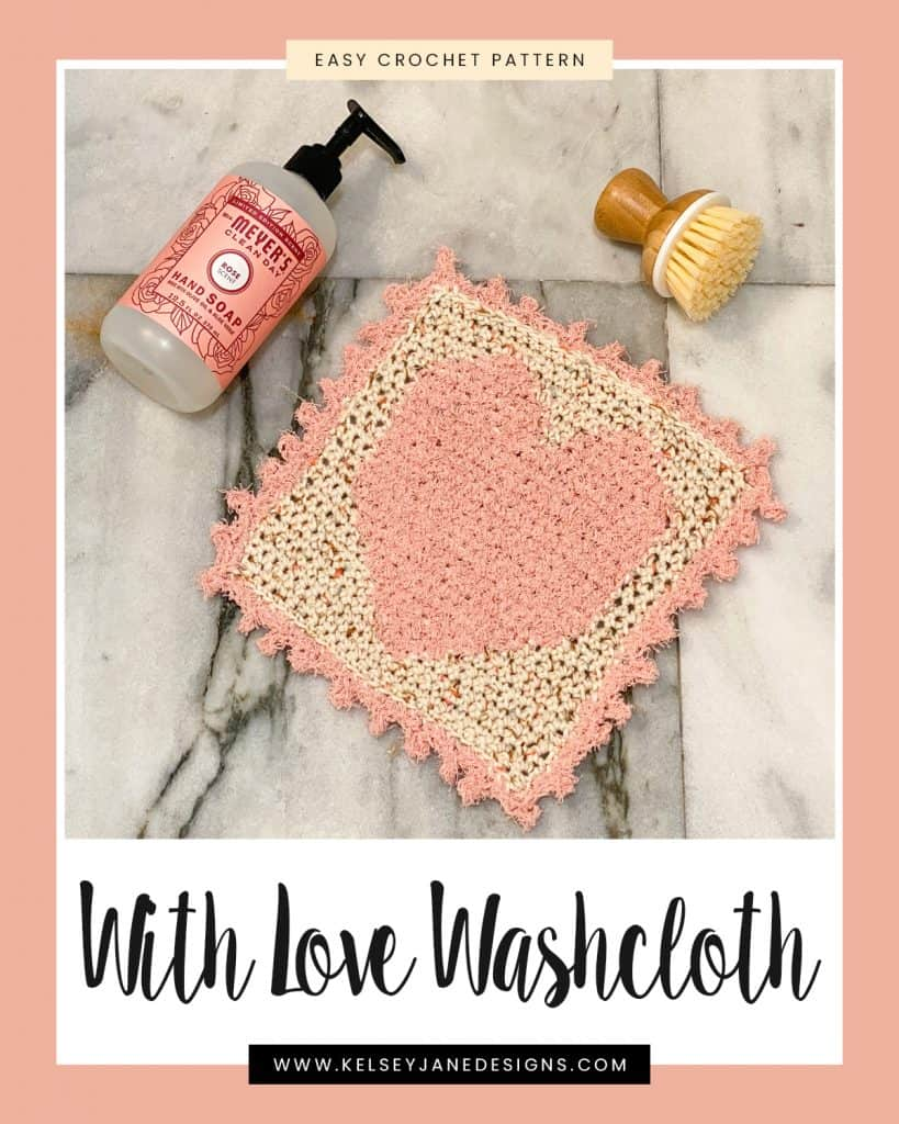Spruce up your kitchen or bathroom with this free beginner crochet pattern perfect for Valentine's Day. Using I Love this Cotton and Red Heart Scrubby (heart) yarns.