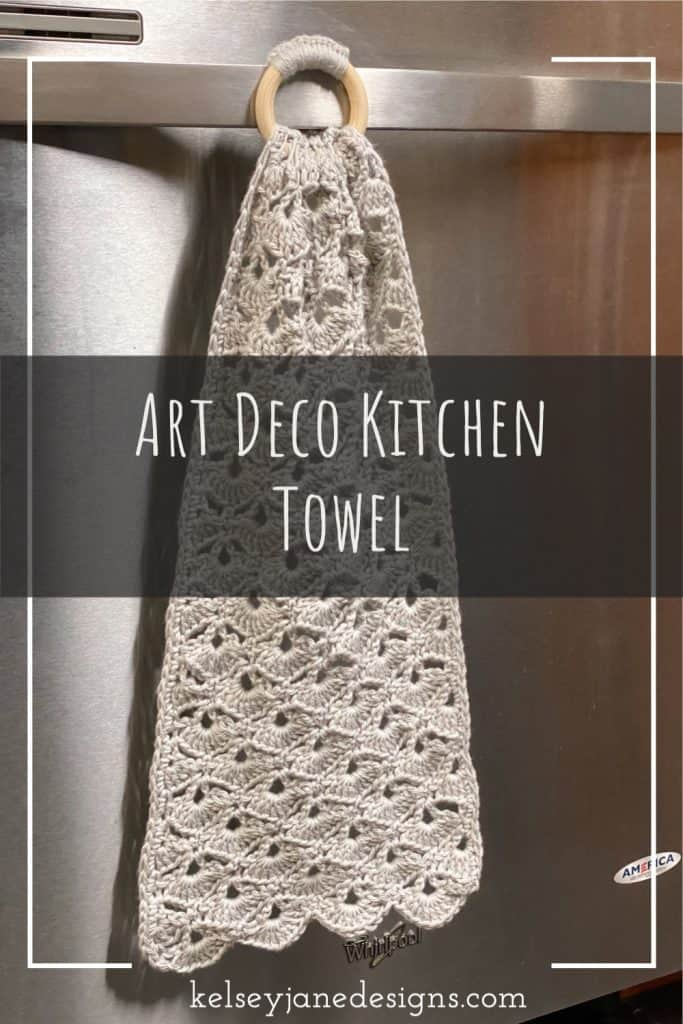 FREE crochet pattern for this decorative dish towel makes a great gift! The wooden ring makes this towel super easy to attach to your oven or dishwasher. Using I Love this Cotton yarn from Hobby Lobby or any other 100% cotton yarn.