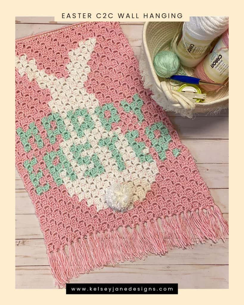 Quick and easy Easter Bunny crochet wall hanging. Using Caron Simply Soft Yarn.