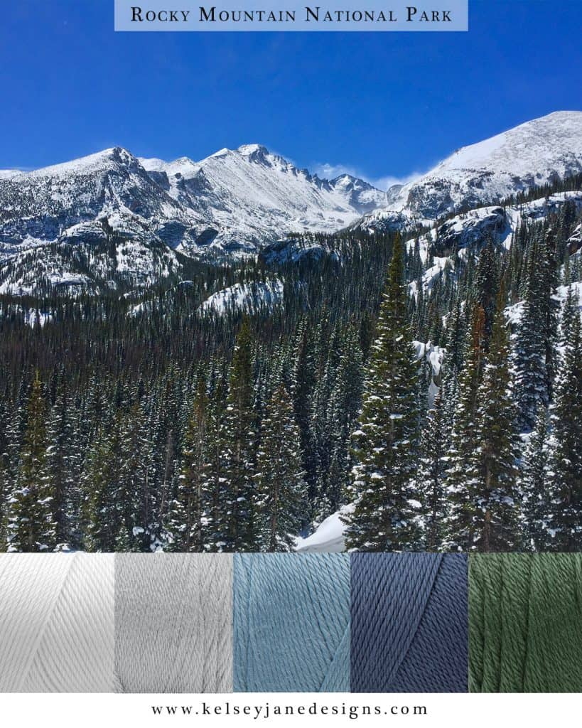Find inspiration for your next knit or crochet project with the colors of winter in Rocky Mountain National Park. Caron Simply Soft Yarn.