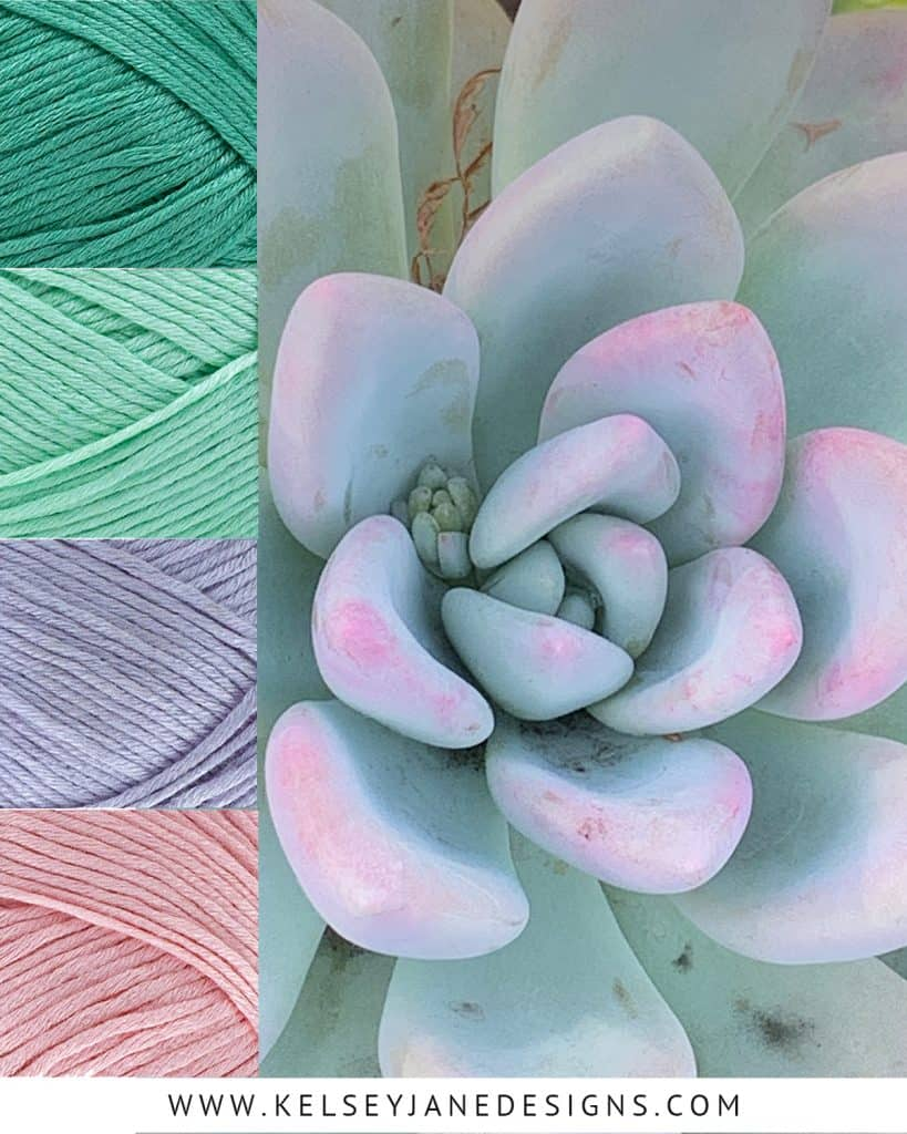 Let the beautiful hues of this soft succulent inspire the color scheme of your next knit or crochet project with the natural bamboo and cotton fibers of Lion Brand Truboo yarn (Seafoam, Mint, Lilac and Light Pink).